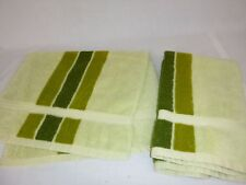 Pr Vtg Sears 3 Tone Avocado Green Hand Towels Stripes ***damage***