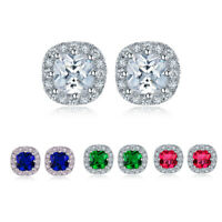 925 Silver Round Birthstone Colour Diamante Stud Earrings Bridesmaid For Women