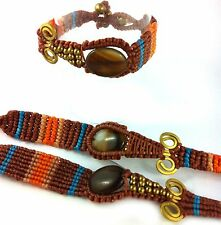 Bangle Braclet Wrist Cuff Tigers Eye Stone Macrame Surf Aztec Festival Jewelry