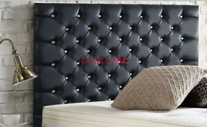 """HEADBOARD BLACK FAUX LEATHER CHESTERFIELD 36"""" - SMALL DOUBLE KING SUPER KING"""
