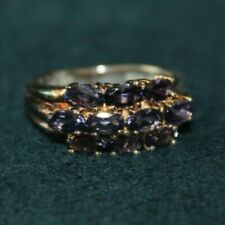 935 Silver Ring with Small Purple Gems, NOTES, Size 7