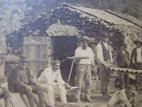1890s MEXICAN WORKERS & STONE HUT Cabinet Photo MAKING ADOBE ROOF TILES MEXICO