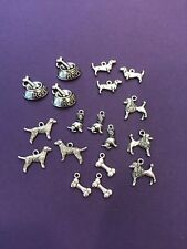 Tibetan Silver Lot Dog Charms 18 pieces for Crafts and Jewelry DIY