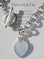 Tiffany & Co Sterling Silver Heart Tag Charm Toggle Necklace