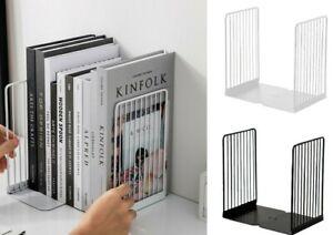 1 Pair Bookends Stand Support 13.5x11x21cm Iron Desktop Book Non Slip Rack Shelf