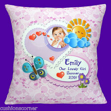 "PERSONALISED Photo Nursery Baby Room Heart Pink Name 16"" Pillow Cushion Cover"