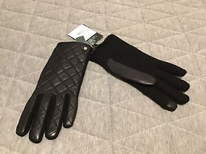Lauren Ralph Lauren Wool-Blend and Quilted Leather Touch Gloves Black S