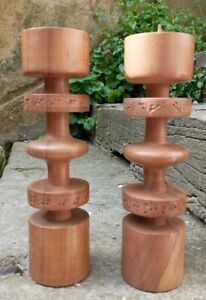 Beautifully Turned Midernist Style 21.5cm Wooden / Teak Candlesticks