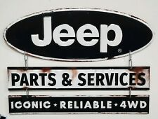NOS JEEP CJ PARTS & SERVICE 3 PIECE METAL WALL ART for WAGONEER CHEROKEE JK TJ