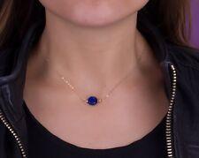 Collar Moneda Lapis Lazuli Natural Plata 1ª Ley .925 Nuevo.