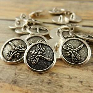 """DRAGONFLY Buttons Tierracast 17mm Antique Silver Qty 4 Dragon Fly 5/8"""""""
