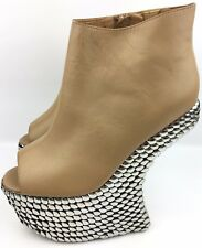 Jeffrey Campbell Night-Tick Nude Sliver Studded Heel Less Wedge Boots sz: US 8.5
