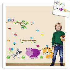 Wandtattoo Wandsticker Lustige Tiere Wandbild dekorativ Kinderzimmer Zebra Löwe