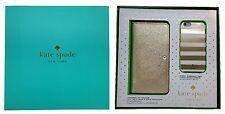 "Kate Spade New York Gift Set Box iPhone 6 & 6S 4.7"" Gold Wristlet & Stripes Case"