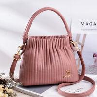 Women Crossbody Bucket Bags Handbag Capacity Casual Shoulder Messenger PU Purse