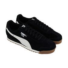 Puma Roma nobuck suave para hombre Negro Nubuck Low Top Tenis Deportivas Zapatos Con Cordones
