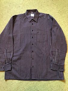 Olymp Charcoal Grey w/ Purple Pinstripe Shirt Good Condition