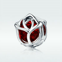 Fine 925 Sterling Silver Charm Bead Red Rose With Crystal For Bracelet Jewelry