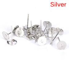 200PCS 6mm Flat Pad Blank Base Stud Earring DIY Jewelry Making Findings HF
