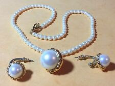 "JOAN RIVERS 18"" FAUX PEARL NECKLACE WITH GOLD TONE PENDANT & MATCHING EARRINGS"