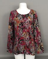 New ISAAC MIZRAHI Live! Multicolor Floral Print Long Sleeve Pullover Top-Tee-MD
