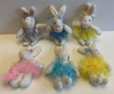 Plush Bunny Pink Rabbit Easter Vintage Miniature Doll Lot Of 6