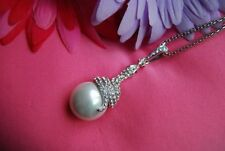 Shell Silver Plated Round Stone Costume Necklaces & Pendants