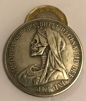 Restrike hobo skull Victoria One Crown Queen Full Silver Plated 1893 coin