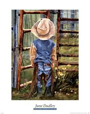 COWBOY ART PRINT Got Some Growing to Do  June Dudley 30x24 Child Western Poster