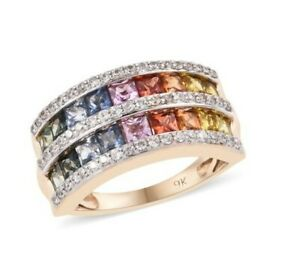 Rainbow Sapphire and Zircon Two Row Eternity Band Ring in 9K Gold