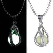 Rhinestone Design Glow in The Dark Little Mermaid's Teardrop Pendant Necklace