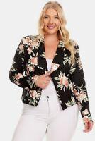 New Women's Plus Size Black Floral Print Open Light Jacket Size 3X 4X USA