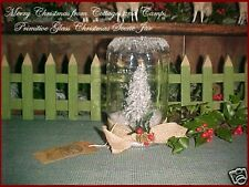 Primitive Glass Canning Jar Bottlebrush Tree Mica Snow Burlap Tie Xmas Decor Tag