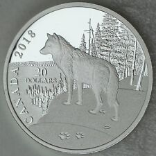 Canada 2018 $20 Paw Prints on the Edge: Wolf, 1 oz. 99.99% Pure Silver Proof