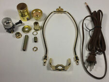"Table Lamp Wiring Kit With 8"" Brass Plated Harp, 3 Way Socket, 8 ft. Brown Cord"
