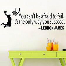 You Can't Afraid Basketball Letter Saying Wall Sticker Mural Decal Room Decor