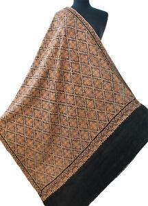 "Unique Hand Embroidered Sozni Wool Heirloom Kashmir Shawl Tan on Black 78""x38"""