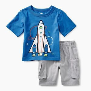 Tea Collection Space Ship Baby Boy Outfit Size 3-6M