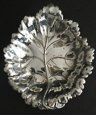 "Rare Vintage (1971) Hallmarked English ""Barker Ellis"" Sterling Silver Leaf Dish"