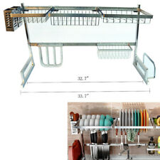 85cm Over The Sink Dish Drying Rack Shelf Stainless Steel Kitchen Cutlery Holder