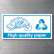 Recycling High Quality Paper sticker for bin  7 year vinyl water & fade proof