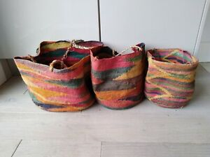 Set of three coloured tropical woven baskets/bags,  Ex con