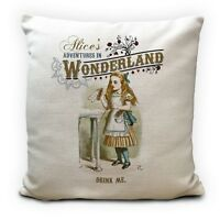 ALICE IN WONDERLAND Cushion Cover Drink Me Quote Mad Hatter Tea Party Prop 40 cm
