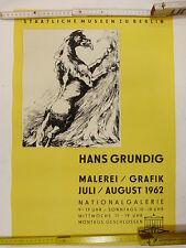 Original Plakat - Hans Grundig Austellung Nationalgalerie Berlin 1962