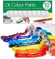 10 x 6ml Oil Colour Paint Set Art Craft Paints Tubes Assorted Colour Painting BN
