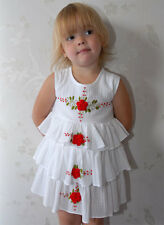 Girls  summer White Cotton Tiered Dress  Embroidered Roses. 2 to 8 years of age