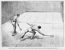NEW YORK RACKET CLUB RACQUET BALL MATCH GAME IN THE COURT EARLY RACKET HISTORY