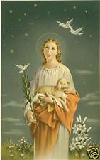 VINTAGE Catholic Large Holy Card ST. AGNES w/ Lamb Postcard size paper