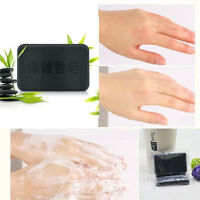 Black Bamboo Charcoal Soap Face Body Clear Anti Bacterial Tourmaline Soap Bar US