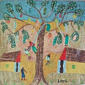 """VINTAGE ORIGINAL HAITIAN ART PAINTING GEORGES AUGUSTE """"HARVEST"""" 31X31 HAITI WOOD"""